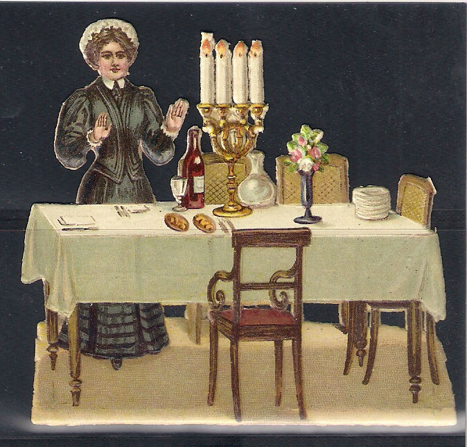 Old Litho Jewish Prize Die Cut Jewish Woman Blassing the candles