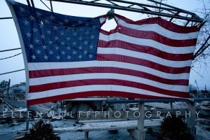 The American Flag at The Big Fire  Breezy Point NY aft Hurricane