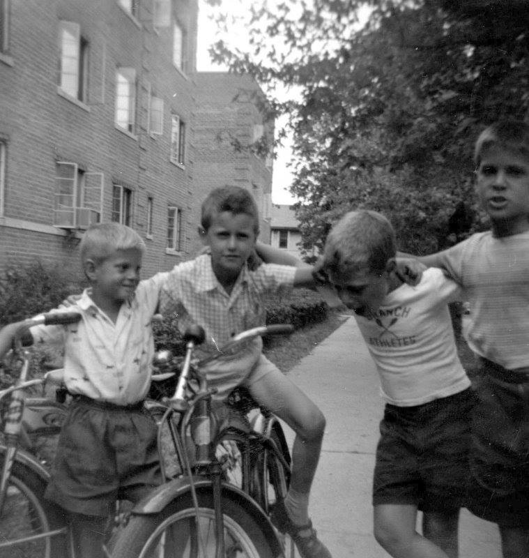 Hangin with my boys on Eggert Place in Far Rock. (1959) I'm on the left,blond hair and all.