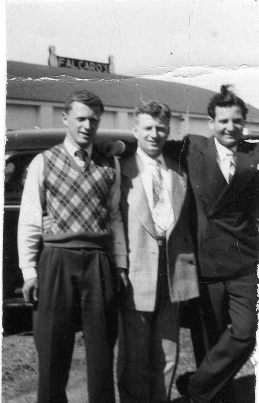 My uncle Ed, (standing on the left) in front of Falcaro's bowling alley. (Photo taken just after WWII)