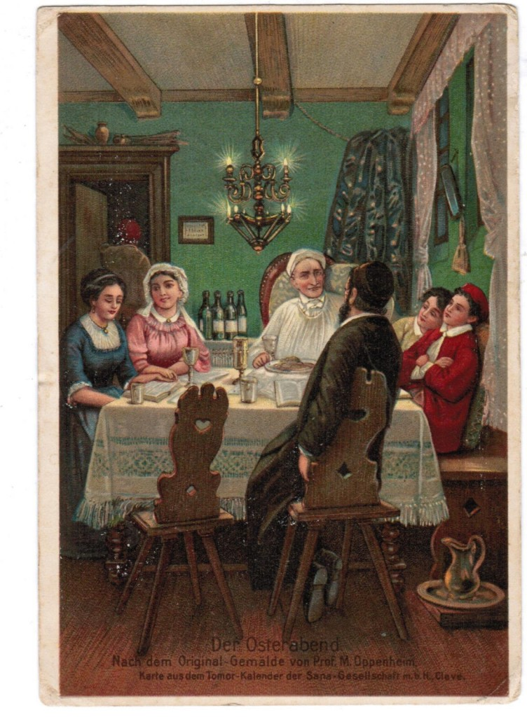 JUDAICA JEWISH ART POSTCARD DER OSTERABEND PASSOVER ILLUSTRATED M. OPPENHEIM