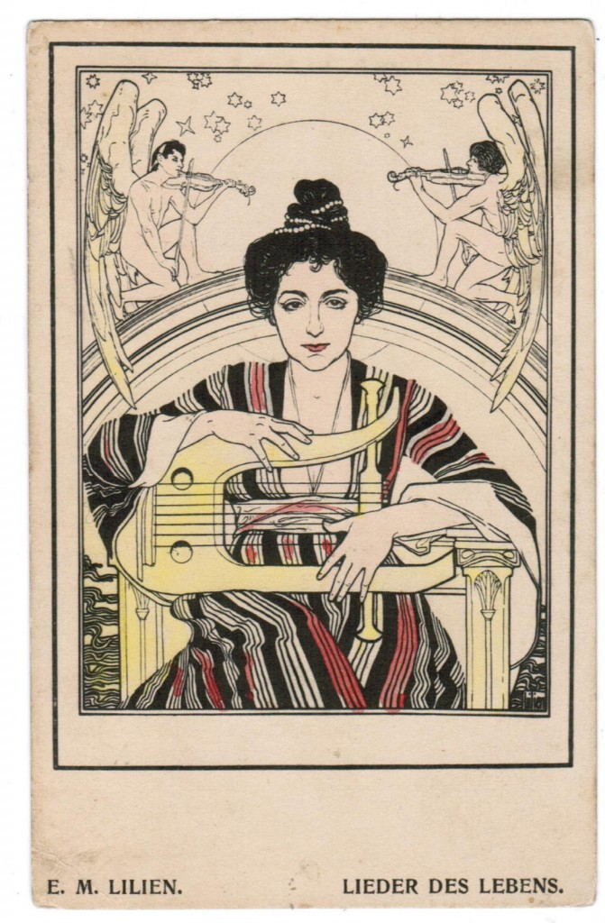 UDAICA JEWISH ART POSTCARD ILLUSTRATED E M LILIEN LIEDER DES LEBENS WITH LYRE