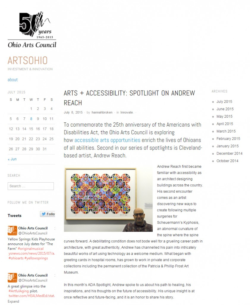 Screen Shot of Art + Accessibility Spotlight on Andrew Reach