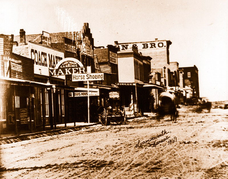 Shawnee Street Leavenworth KS 1869 Old Photo